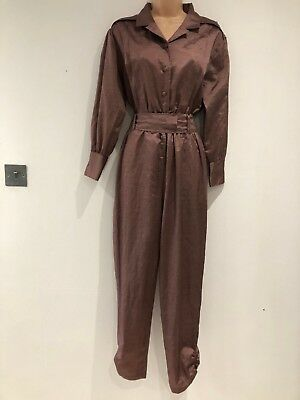 Vintage 80's Retro Brick Red Long Sleeve All In One Belted Jumpsuit Size 10-12