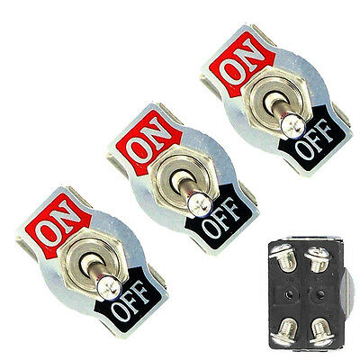 3Pc Metal 20A 125V 250V 15A DPST 4Pin ON/OFF Rocker Toggle Switch Car Sales