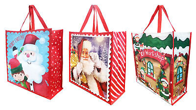 Christmas Shopping Bag Storage Present Reusable Tote Grocery 3 Designs+Free Tape