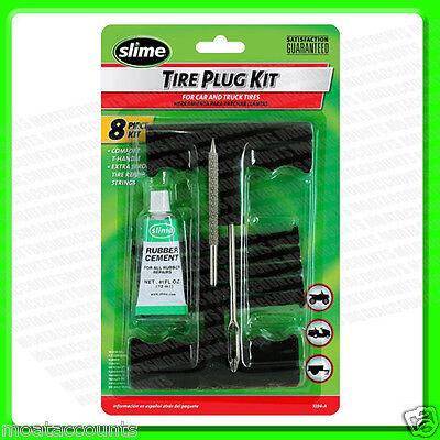 Slime Tire Puncture Plug Kit [24011] T Handled Reamer For Car & LCV Tyre