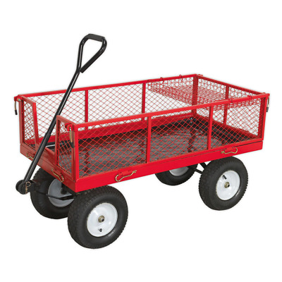 Sealey CST806 Platform Truck With Sides Pneumatic Tyres 450kg Capacity