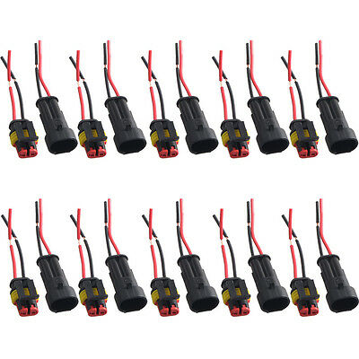 10 X 2 Pin Car Motor Waterproof Electrical Connector Plug Socket Wire Cable