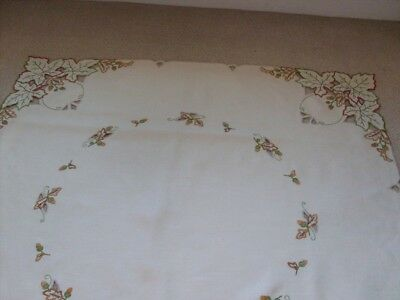 Beautiful Vintage Linen Autumn Theme Hand Embroidered Tablecloth With Cut Work