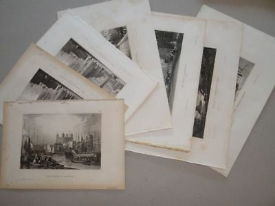 Sammlung England London Westminster Abbey Themse Tunnel 7 Stahlstiche 1850