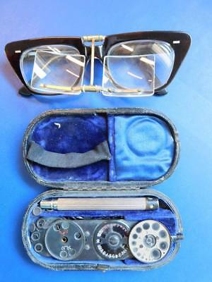 Vintage Dual Lens Surgeons magnifying Glasses & Ophthalmoscope Medical 1900s