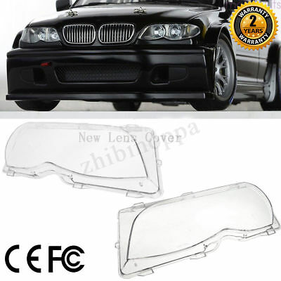 Pair Front Left & Right Headlight Lenses Plastic Cover For BMW E46 2002-2005