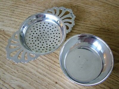 Good Quality Solid English Silver Tea Strainer & Tray Hm1973 D.j.silver 77G Nr