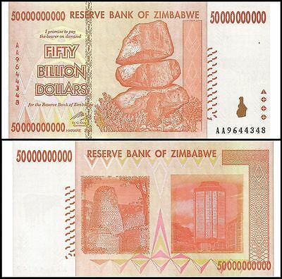 Zimbabwe 50 Billion Dollars 2008 Banknote UNC AA+ (Zm50B)