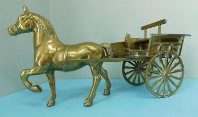 Very Large Antique Cast Brass Horse and Carriage c1900s Fireside ornament