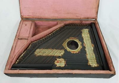 Beautiful Antique Cross String Lion Zither Circa 1880 47 Strings + Case