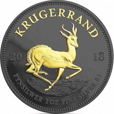 1 oz Krügerrand 2018 Black Ruthenium Gilded Edition 999 Silber Silbermünze