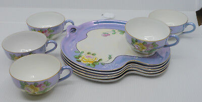 Old Japanese Hand Painted Blue Lusterware Snack, Luncheon Set Of 5, Flower Decor