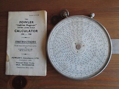 Fowlers Jubilee Magnum Extra Long Scale Calculator & Instructions