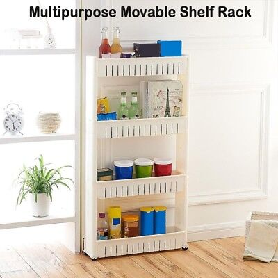 Rolling Multipurpose Movable Storage Shelf Rack With  4 Layers Kitchen Holder