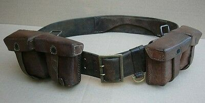 WWII Bulgarian large luger belt with double ammo pouches set for officer uniform