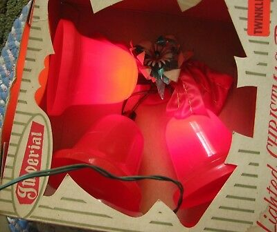 In Box Imperial Twinkle Lighted Christmas Bright Red 3 Bells #316 Decoration