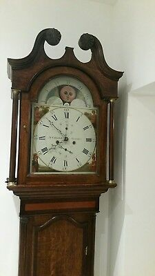 Antique 8 Day Longcase Clock Moon Roller Grandfather Clock By J&W Blaylock