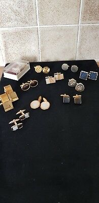 JOB LOT COLLECTION OF VINTAGE MENS CUFFLINKS X 11 pairs