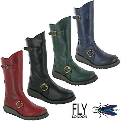 Fly London Womens Boots Calf Mid Leather Zip Biker Riding Buckle Wedge UK 4-8