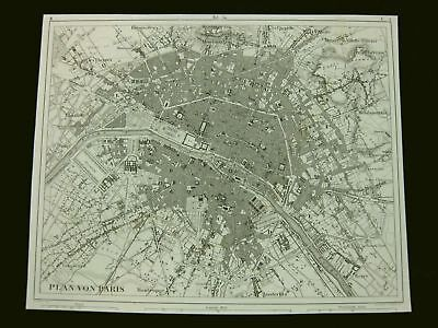 Paris Town Map, Stahlstich steel engraving ca. 1870