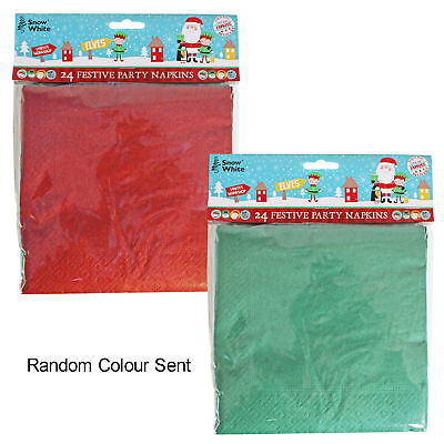 Christmas Party Buffet Disposable Party Tableware - 24 Pack Napkins Random