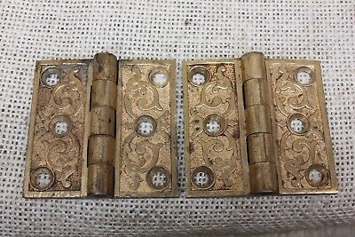 "2 interior shutter old decorated Hinges Cabinet door 1880 vintage 2 x 2"" bronze"