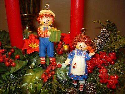 Lot of 2 Rare 1975 Hallmark *Raggedy Ann & Andy* Tree Trimmer Ornaments - no box