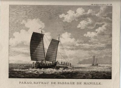 Philippins Manilla Passenger Boats, Kupferstich copper engraving ca. 1800