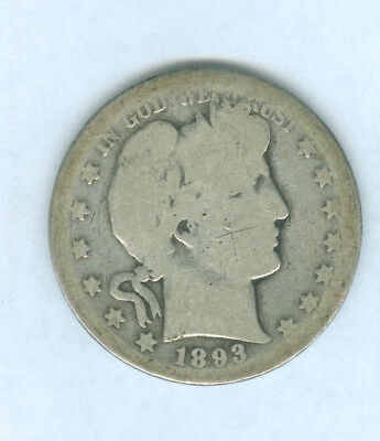 Genuine Scarcer Date 1893-S Silver Barber 50 Cent.