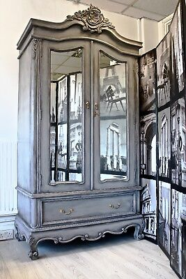 french double armoire wardrobe mirror painted grey shabby chic upcycled mirrored