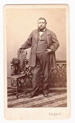Hungarian Gentleman and His Dog -- Antique CDV Photo c. 1865