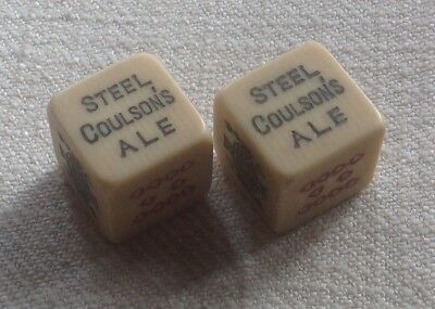 TWO OLD c1950s POKER DICE ADVERTISING STEEL COULSON'S ALE on one face per dice