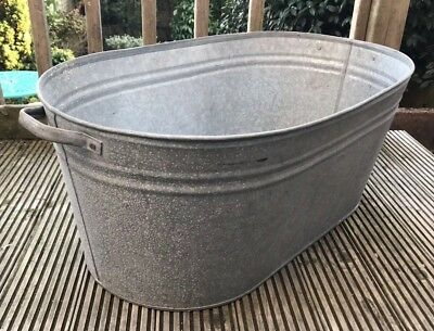 Galvanised Industrial Tin Bath Garden Planter Wedding Storage