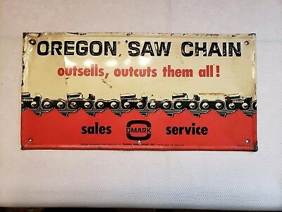 Vintage Oregon Saw Chain Embossed Metal Sign Omark Industries Tin Tacker