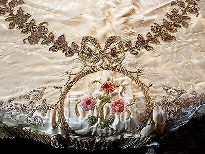 Embroidered Tablecloth, Antique, European, Fully Lined, 2 X 1.5 Meters