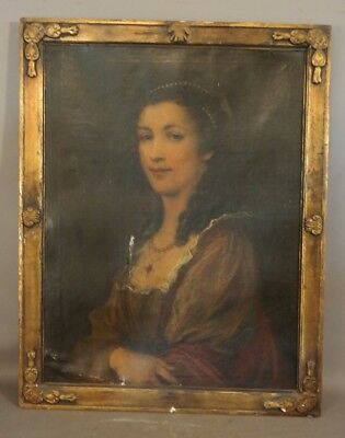 Early 19thC Antique LADY PORTRAIT Old RUBY & PEARL NECKLACE Estate OIL PAINTING