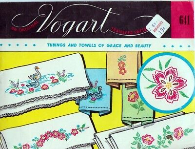 Original Vogart 641 Swans and Floral Motifs for Pillow Cases and Towels