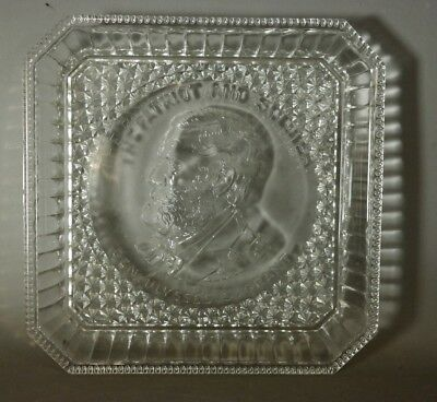 Antique THE PATRIOT & SOLDIER Civil War ULYSSES S. GRANT Old PRESSED GLASS PLATE