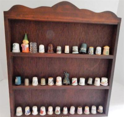 Large Lot of 36 Vintage Thimbles ~ THIMBLE COLLECTION ~ With Wooden Display Rack