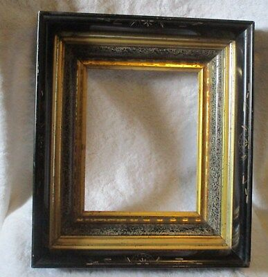 """Antique Victorian Wood Black & Gold Mourning Funeral Frame Tiered Frame 15X13.5"""""""