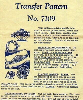 Original Uncut/Unused 1944 Flower Embroidery Iron-On Motifs for Pillow Cases+
