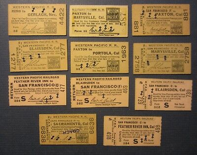 Lot of 12 Old - WESTERN PACIFIC RAILROAD - Cardboard TRAIN TICKETS - All Diff.