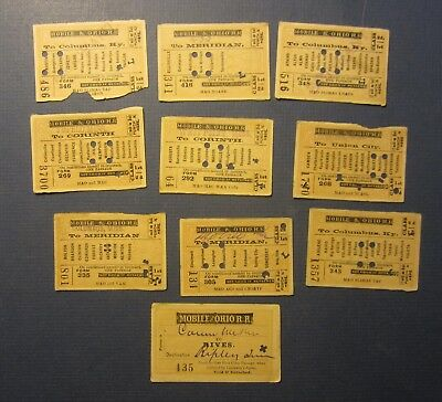 Lot of 10 Old 1885 - 1886 - MOBILE and OHIO RAILROAD - TRAIN TICKETS