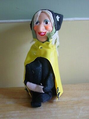 Vintage Halloween Witch Knee Hugger Pixie w/ Rubber Face ~Made in Japan Label
