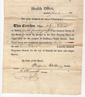 1811 Permission for Burial Place at Copp's Hill Boston