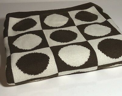 BABY BLANKET DWELL STUDIO FOR TARGET POLKA DOT BROWN WHITE Excellent Condition