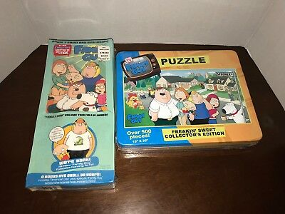Family Guy Lot Freakin Sweet Collectors Edition Puzzle Tin & Volume Two w/Tshirt
