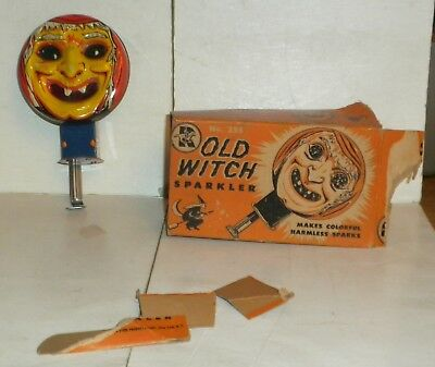 very old tin OLD WITCH SPARKLER in box halloween