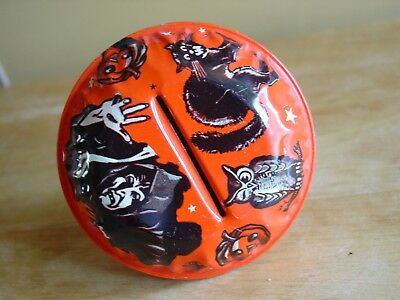 Vintage Lithographed Tin Witch Cat Owl Halloween Noisemaker US Metal Toy MFG #2