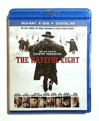 The Hateful Eight (2016) Like New Blu-ray + DVD Samuel L. Jackson, Kurt Russell